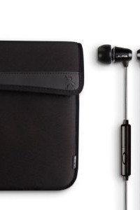 Kindle Fire Bundle - Neoprene Case w/JBasics Premium Metal Earphones - Black