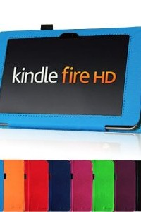 Fintie Slim Fit Leather Case with Auto Sleep/Wake for Kindle Fire HD 7-Inch Tablet - 2012 Model - Blue