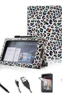 FINTIE (Leopard Colorful) Folio Case Cover Value Package with Screen Protector/Stylus/USB cable for Amazon Kindle Fire 7