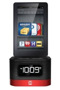 iHome iK50B SMARTDESIGN Space Saver FM Stereo Alarm Clock/Charger for Kindle Fire, Black