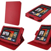rooCASE Dual-View Multi Angle (Red) Folio Case Cover for Amazon Kindle Fire 7-Inch Android Tablet (NOT Compatible with Fire HD)