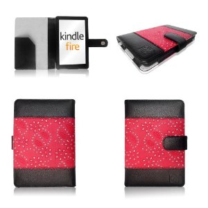 RHINESTONE and RED Bundle Folio Case and Cover + Anti Glare Screen Protector for Amazon Kindle Fire 7-Inch Android Tablet+ FREE STYLUS PEN