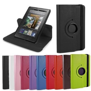 GMYLE (TM) Black Leather 360 Degree Rotary Rotating Swivel Folio Stand Cover Case For Amazon Kindle Fire Tablet