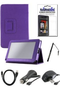 Accessories Bundle Kit for New Amazon Kindle Fire 2012 Model (Not HD) - Combo Set Includes : HHI UrbanFlip Series Viewing Stand Case Purple + Screen Protector + Car Charger + Home Charger + USB Data Cable + HHI Stylus Pen